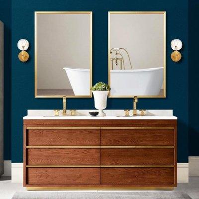 鏡子 北歐輕奢浴室鏡簡約壁掛金色衛浴鏡...