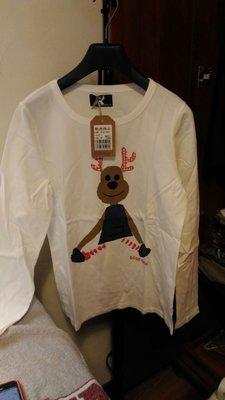 小芭比~ 美國藍鹿 American Bluedeer 經典糜鹿圖像純白長袖T恤~全新台灣製