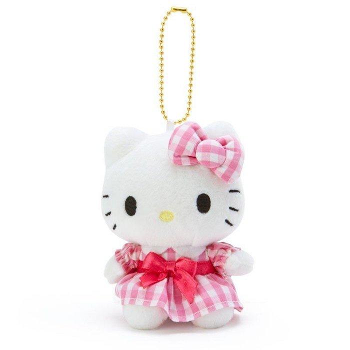Hello kitty 粉格絨毛S玩偶吊飾