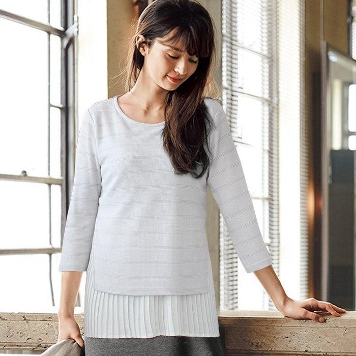 ☆UeF☆日本正品NBB/MK針織棉併雪紡七分袖衫(新品)