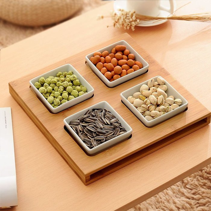 預售款-LKQJD-日式零食盤干果盤簡約分格零食盤點心盤堅果盤糖果盤瓜子盤水果盤