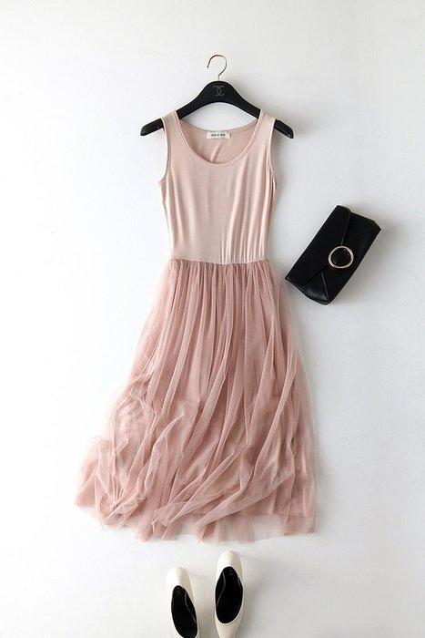 現貨韓版新款網紗連身裙大碼連身裙 背心紗裙 打底長裙 顯瘦顯高 吊帶裙