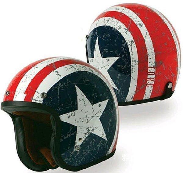 【格倫雅】^美國隊長標誌 ORC安全帽 半帽 哈雷安全帽 50幸運星 優惠送22020