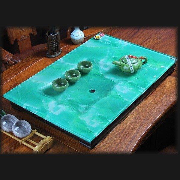 5Cgo【茗道】含稅會員有優惠 43110151885 玻璃茶盤彩繪耐熱陶瓷珫璃含木底座排水茶臺 多種石頭紋 61*41