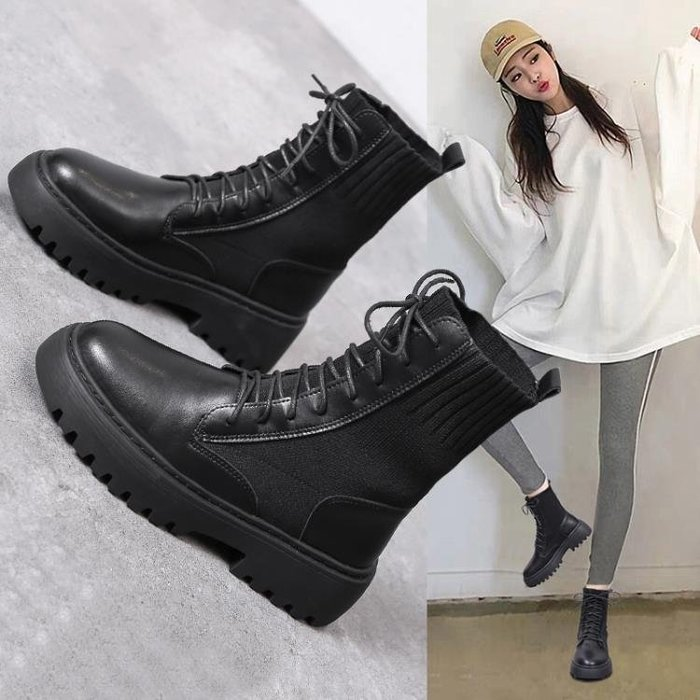 短靴 馬丁靴女英倫風春夏春秋夏季透氣單靴薄款港味百搭靴子ins潮短靴 8%百分吧