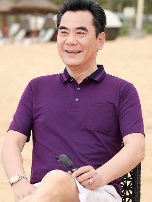 中年人男士絲光棉翻領短袖t恤純色休閑40-50歲爸爸夏裝真口袋體恤爸爸裝 短袖上衣
