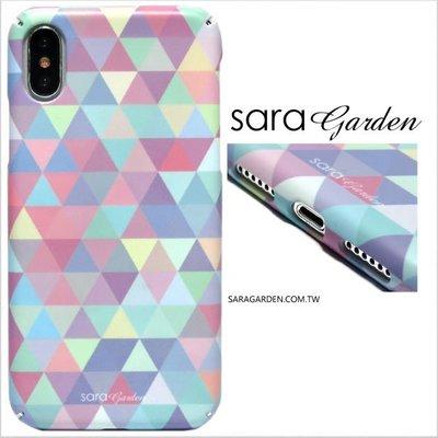 客製化全包覆手機殼iPhone X 8 7 6 6S Plus 三星 S8 S8+ 硬殼 藍粉三角圖騰 K1015021
