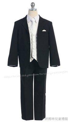 妍媽咪兒童禮服出租~美國男大童白色菱格5件式正式西裝晚禮服~演奏會婚禮走秀