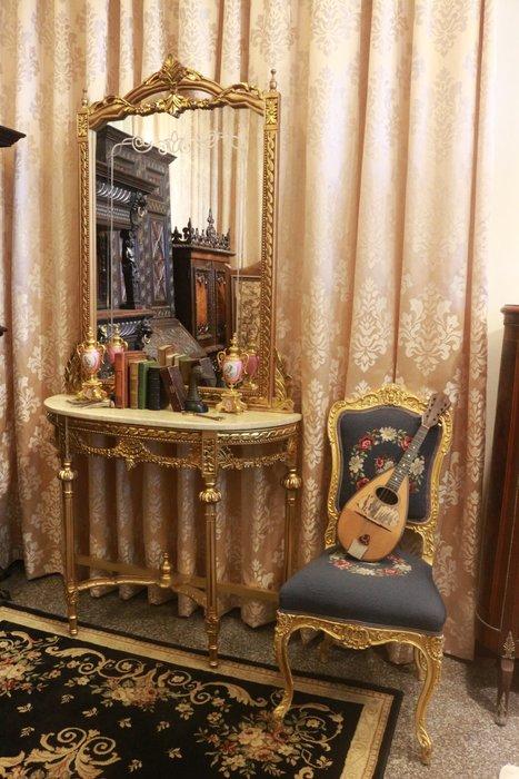 【家與收藏】賠售特價極品稀有珍藏歐洲古董法國凡爾賽華麗巴洛克手工雕花大理石大玄關桌鏡7