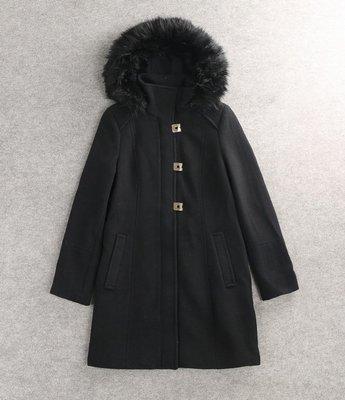 冬天要有的一件外套Calvin Klein長款毛絨有帽黑色大衣size:L超美超顯瘦