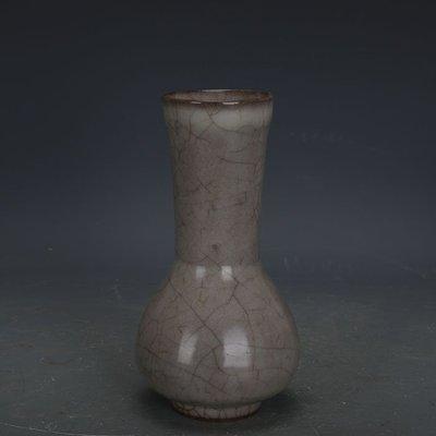 ㊣姥姥的寶藏㊣ 南宋官窯米黃冰裂釉直口瓶  出土古瓷器古玩古董收藏復古擺件