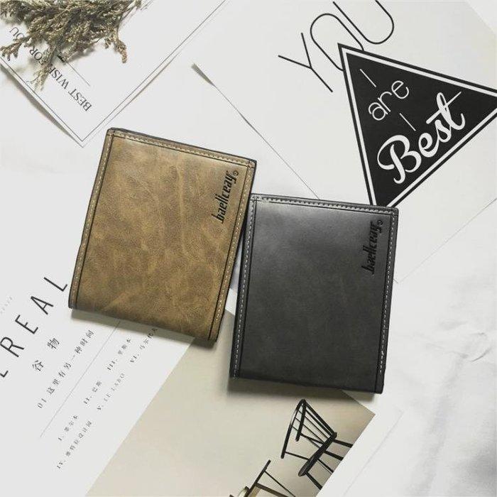 日系簡約學生橫款小皮夾多卡位男士商務短款錢包潮男復古文藝錢夾