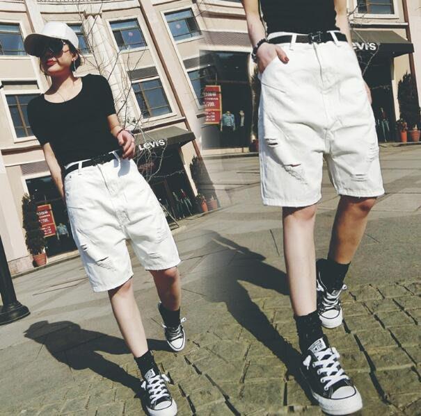 大尺碼短褲 牛仔褲 破洞簡約顯瘦高腰五分褲 牛仔垮褲寬松闊腿褲 哈倫褲—莎芭