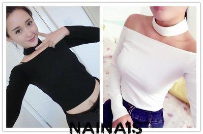 【NAINAIS】SHUN 1586 韓版 性感美頸掛脖露肩一字領上衣T恤 3色【預】