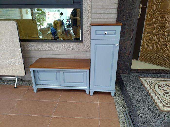 戀戀小木屋 藍色穿鞋椅 收納櫃 原木 收納櫃