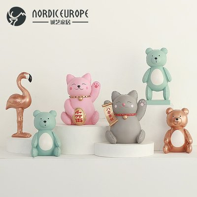 爆款--創意北歐氣球招財貓樹脂裝飾擺件...