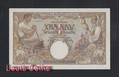 【Louis Coins】B596-SERBIA-1942塞比瑞亞紙幣,1000 Srpskih Dinara