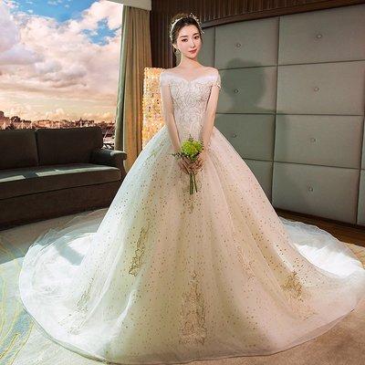 婚紗 禮服 星空婚紗禮服2019新款春季法式公主夢幻齊地赫本新娘一字肩長拖尾