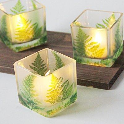 熱銷#北歐綠葉6CM方形玻璃燭臺浪漫表白燭光晚餐宴會裝飾擺設送電子蠟#燭臺#裝飾