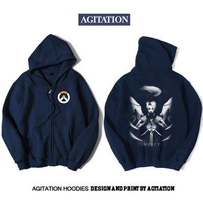 【思琪新品】Agitation潮流印花開衫拉鏈加絨衛衣游戲電競守望先鋒天使
