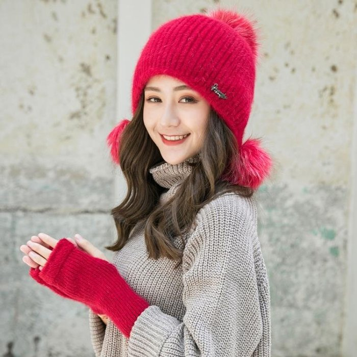 毛帽 兔毛帽子女冬針織毛線帽甜美可愛毛球秋冬季加絨保暖時尚護耳冬帽