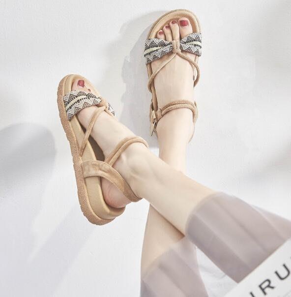 涼鞋 學生百搭時尚仙女風複古露趾一字帶厚底鞋 羅馬涼鞋 韓國—莎芭