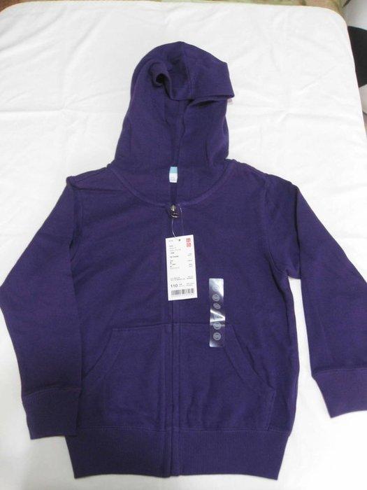 uniqlo男女童紫色連帽棉質外套