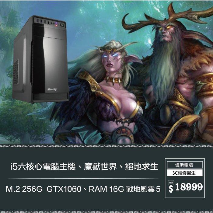 【偉斯電腦】i5六核心電腦主機、魔獸世界、絕地求生 M.2 256G  GTX1060、RAM 16G 戰地風雲5