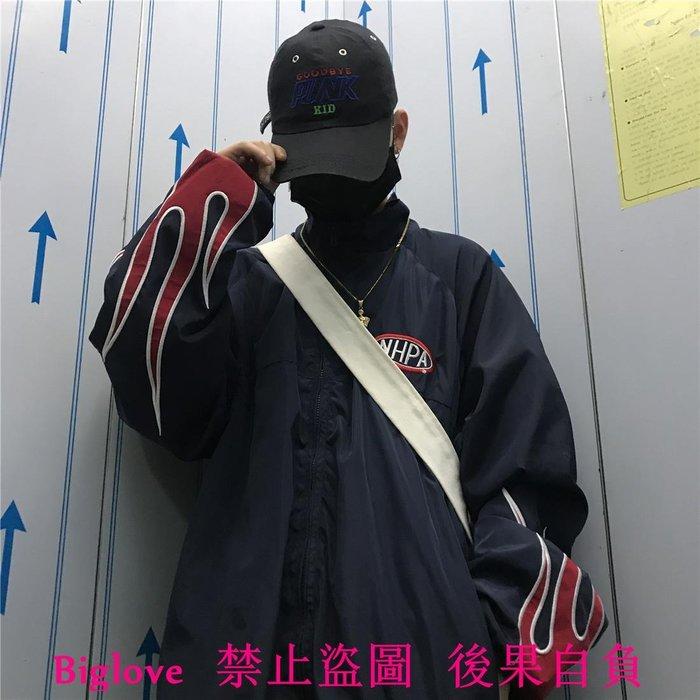 韓國重工火焰刺繡薄款夾棉棒球服外套 18AW男女款