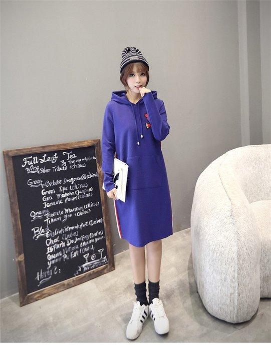 ☆Candy Box☆韓國連帽休閒長款衛衣 藍 Z1313346