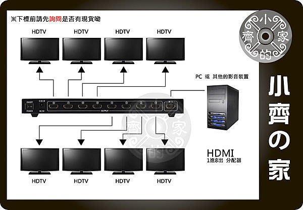 小齊的家 全新 HDMI 分配器 Splitter 鍍金端子 1進8出 1.3b 支援HDCP Full HD 1080p PS3 XBOX 360