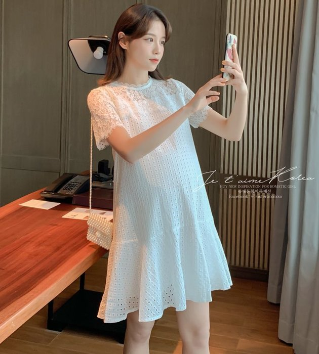 Sisterxoxo KOREA 正韓 韓 實拍 大尺碼 孕婦裝 奢華復古珍珠扣白洋裝 蕾絲鉤花 A字裙 短袖白色洋裝
