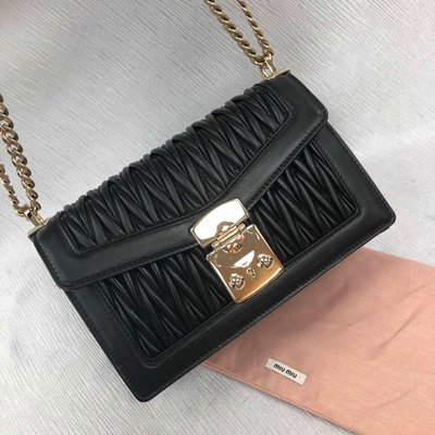 MIU CONFIDENTIAL MATELASSÉ LEATHER BAG