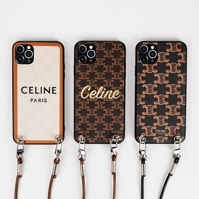 Muses iphone12promax手機殼斜跨celine潮牌適用蘋果12單肩牛皮掛繩xs背包式女iPhone11promax手機殼