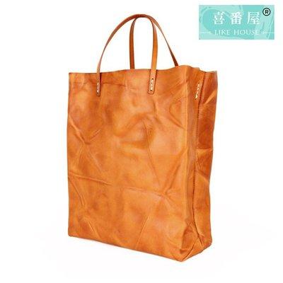 【喜番屋】真皮頭層牛皮女士手提包手提袋托特包通勤袋購物袋女包【LB465】
