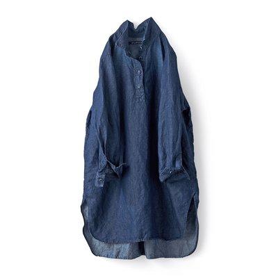 Sunny clouds 春 輕磅棉麻單寧  簡潔舒適 襯衫式連身裙 長版襯衫 (現貨款特價)