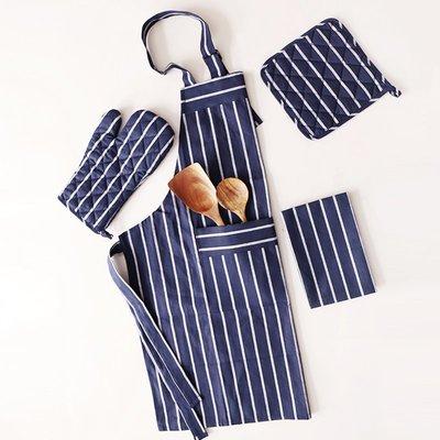 圍裙舍里 日式和風深藍文藝素色隔熱鍋碗墊防燙手套圍裙桌布廚房用品