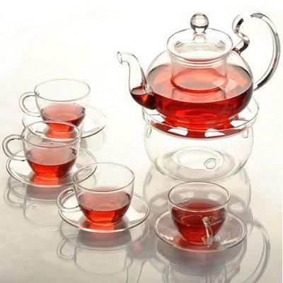 5Cgo【茗道】含稅會員有優惠524670366414手 工耐熱透明玻璃茶具套裝花茶壺 600ml 一壺一底座四杯四碟