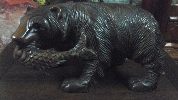 [低價換現金] 市面上有很多仿冒品真品在這裡高純度紅銅日本純手工魚與熊銅雕高14公分寬25公分深12公分淨重5公斤實心
