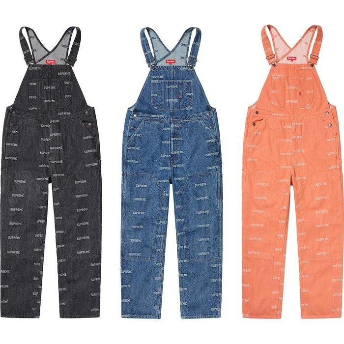 【美國鞋校】預購 SUPREME SS19 Logo Denim Overalls 單寧吊帶褲