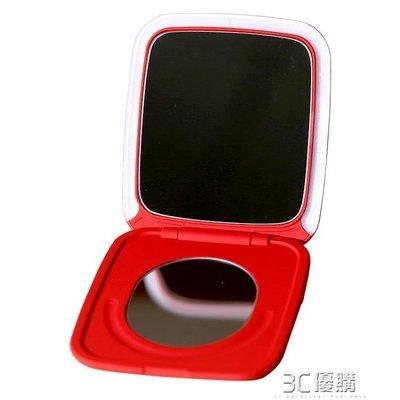 ZIHOPE 化妝鏡 在水一方觸摸調光LED帶燈化妝鏡補光鏡折疊便攜隨身女小梳妝鏡ZI812