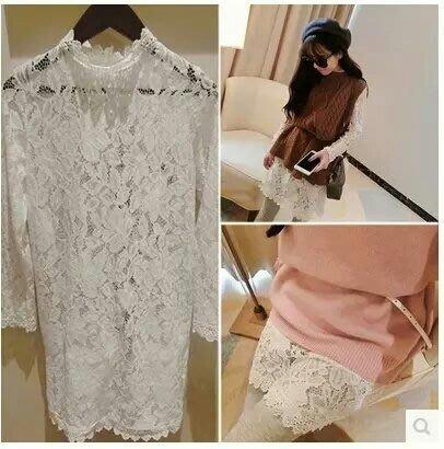 粉紅玫瑰精品屋~韓版蕾絲花朵縷空蕾絲中長衫 內搭衫~
