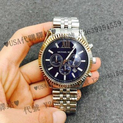 ♥USA代購驛站♥ 100%美國全新正品 MK品牌 MK8280 時尚個性 藍盤 精鋼 三眼 計時 石英 中性手錶 腕錶