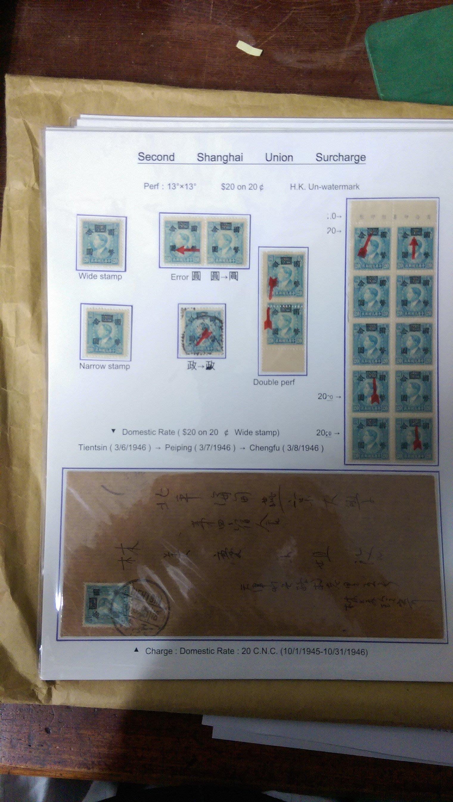 國幣加蓋票郵集影印本,2016泰中郵展鍍金牌得獎作品,80頁,含裝訂,350元