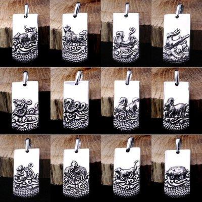 【H&M】03  S925純銀飾品本命佛十二生肖佛牌復古泰銀男女項鏈吊墜帶平安