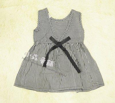 小森童舖 女童款 韓系風格 黑x白 格子蝴蝶結風格 背心式 洋裝 裙子 5.7.9.11.13.15.17