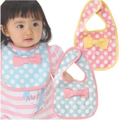 【Baby Center】 立體蝴蝶結圓點小圍嘴 寶寶魔鬼粘小圍嘴/口水巾/圍兜 寶寶圍嘴 @35.