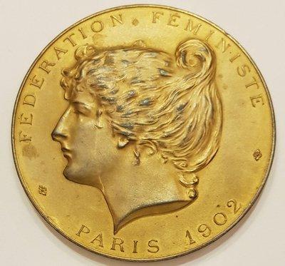 法國鍍金銅章1902 France Feminism Paris Massonnet Medal.