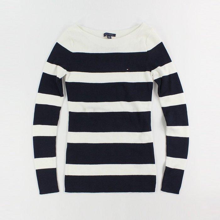 美國百分百【全新真品】Tommy Hilfiger TH 女 針織衫 船型領 毛衣線衫 一字領 條紋 深藍白 H507