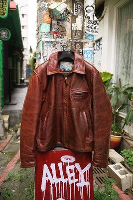 [ Satisfaction ]Aero Leather經典棕紅色直拉鍊翻領茶芯馬皮皮衣Made in Scotland